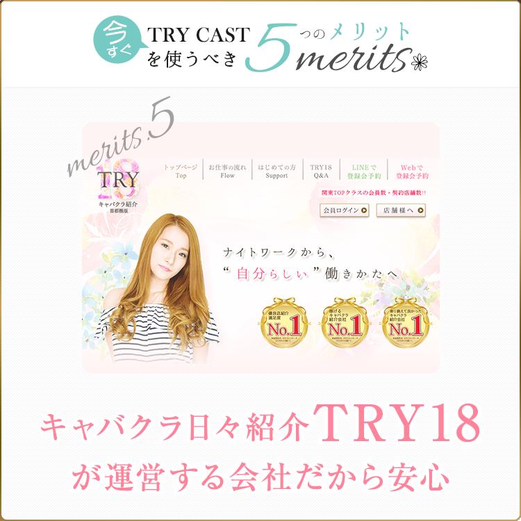 キャバクラ日々紹介TRY18が運営する会社だから安心